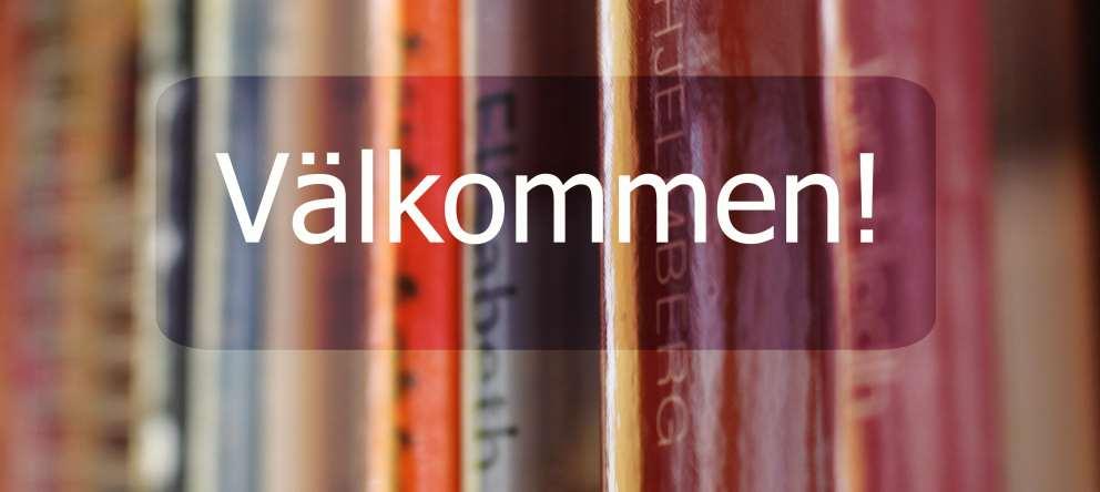 Bild på böcker och texten välkommen!