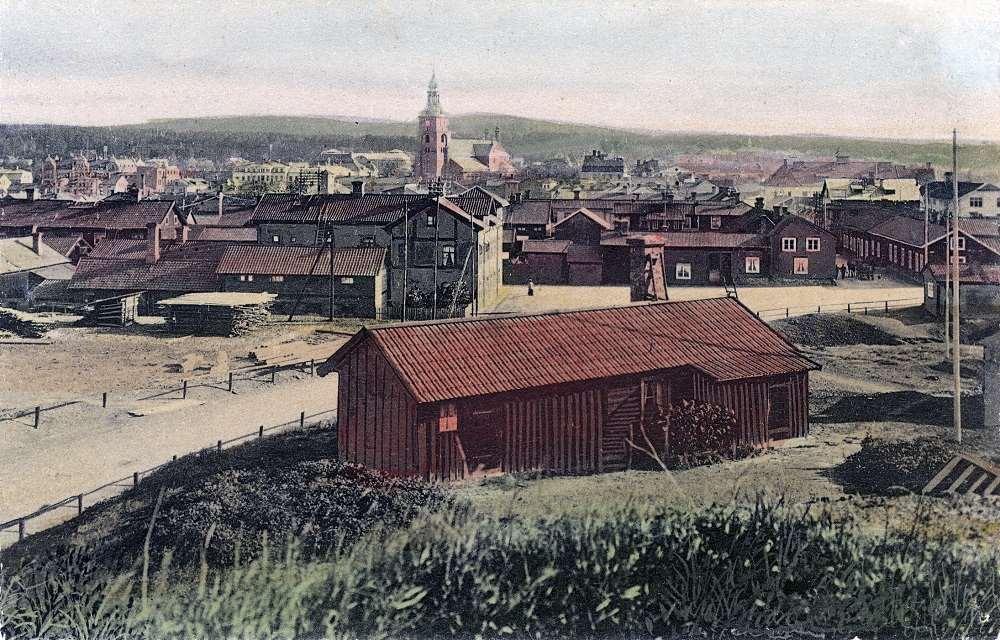 Faluns västra infart med Tunavägen och Yxhammartorget i början av 1900-talet