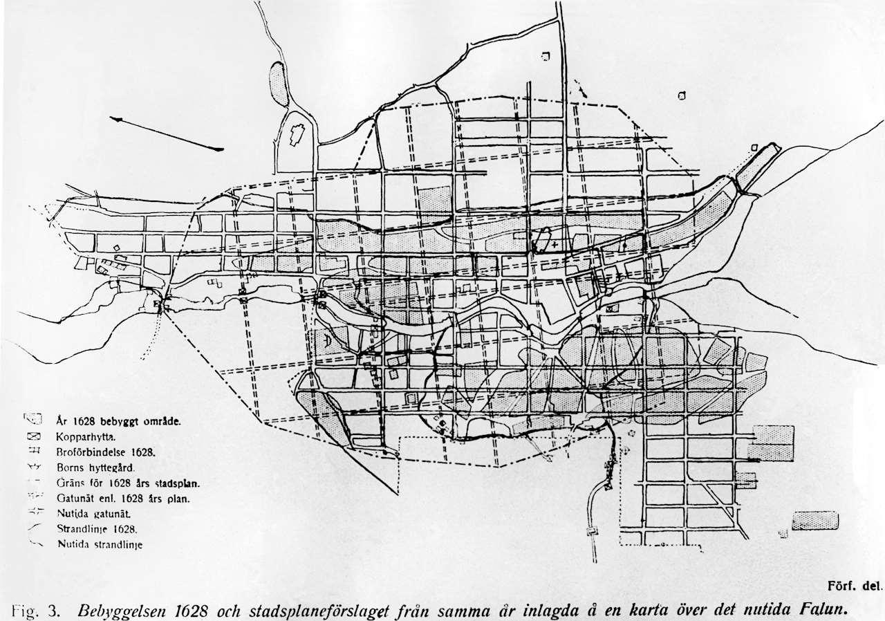 Äldsta kartan över Falun från 1628