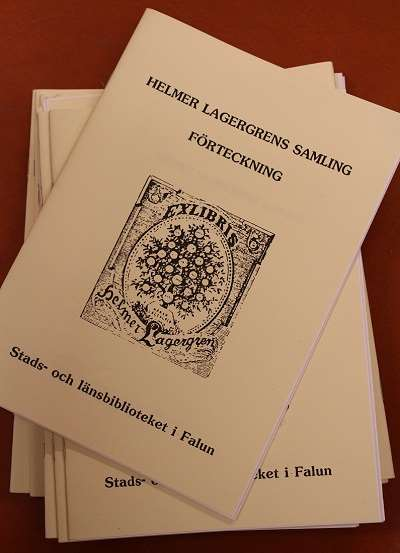 Häfte med en förteckning över Helmer Lagergrens samling som finns i bibliotekets arkiv.