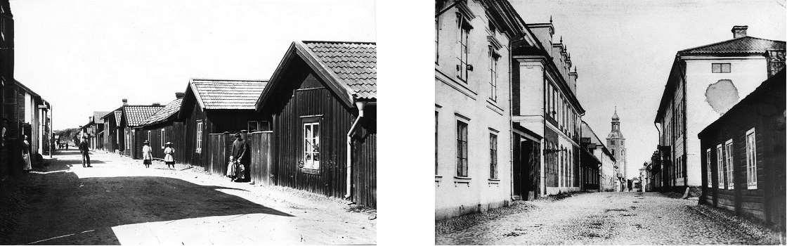 Svartvita foton av Gruvarbetargårdar på Elsborg, samt Åsgatan omkring år 1900