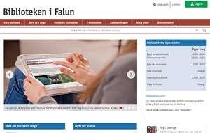 Startsidan på bibliotekets webbplats (printscreen)