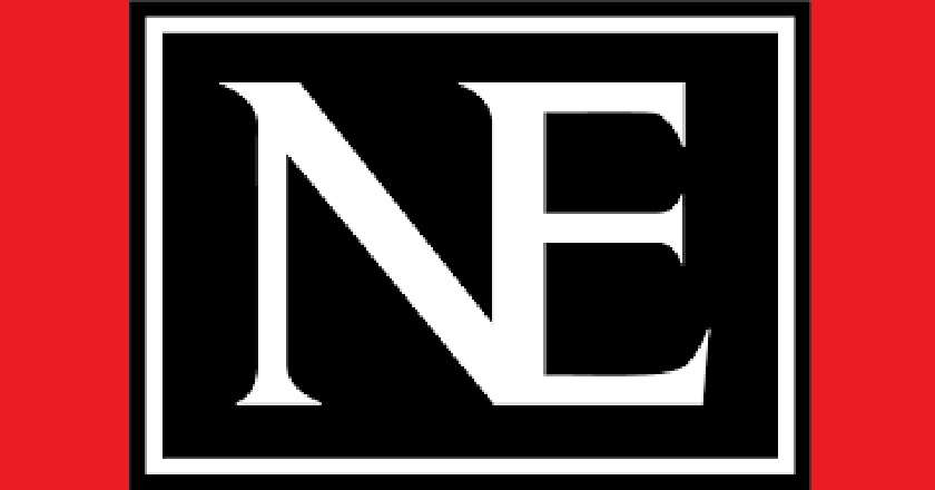 Nationalencyklopedins svartvita logga mot röd bakgrund
