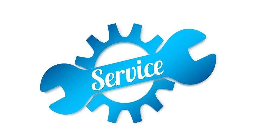 Stiliserad blå skiftnyckel med texten Service ovanpå ett blått kugghjuö